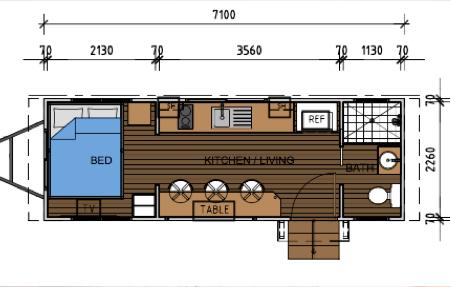 Tropical Tiny Home - Design - Jasper Floorplan